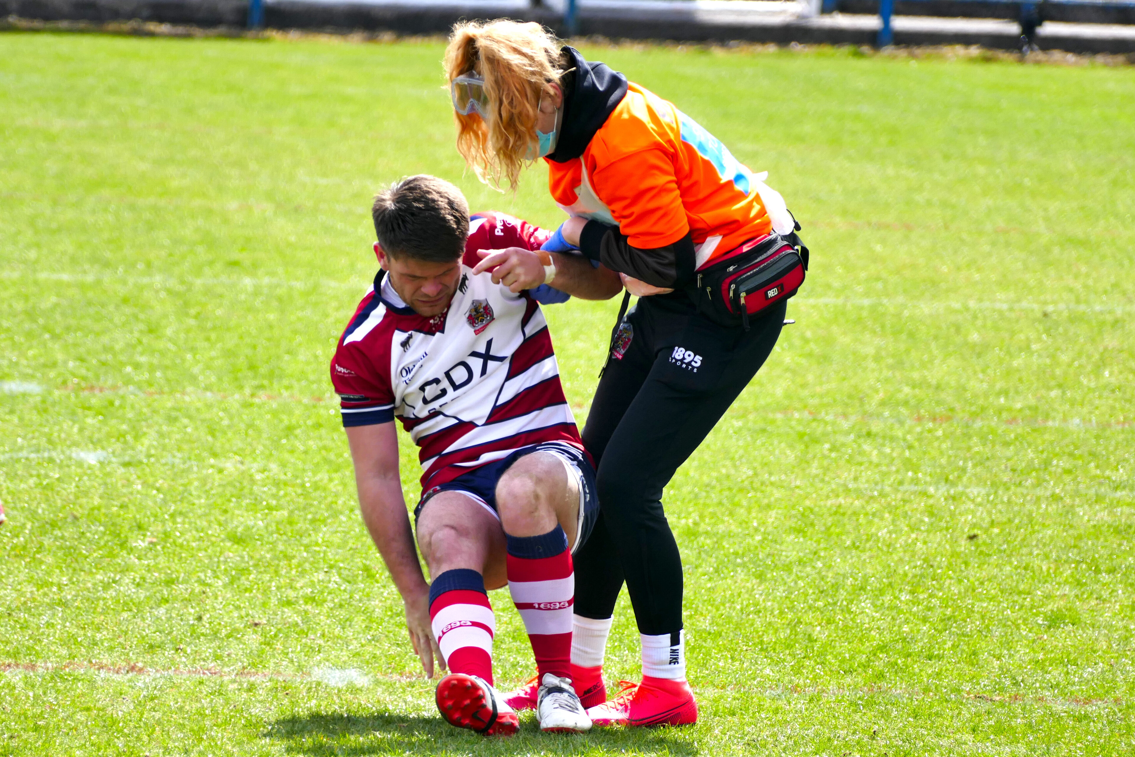 Dave Hewitt helped to his feet during the win against Halifax